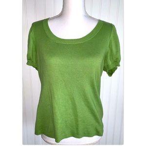 Ann Taylor Loft Large Sweater Green Short Sleeve